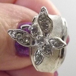 Vintage Crystal Butterfly on 925 Silver Shank Ring